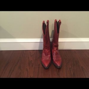 Justin red leather cowboy 🤠 boots 4C